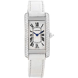 Cartier Tank Americaine WB701851 18K White Gold Diamond 19mm Womens Watch