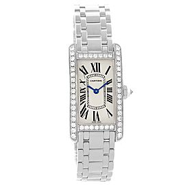 Cartier Tank Americaine WB7073L1 18K White Gold Diamond 19mm Womens Watch