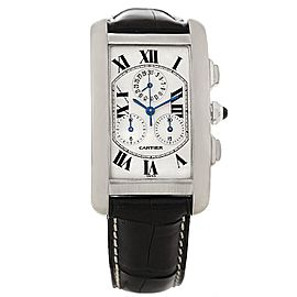 Cartier Tank Americaine W2603358 Chronograph 18K White Gold 26.6mm Mens Watch