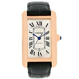 Cartier Tank Americaine W2609856 18K Rose Gold Automatic 31mm Mens Watch