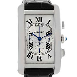 Cartier Tank Americaine XL W2609456 Chronograph 18K White Gold 31.1mm Mens Watch