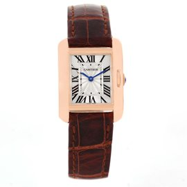 Cartier Tank Anglaise W5310027 18K Rose Gold 23mm Womens Watch