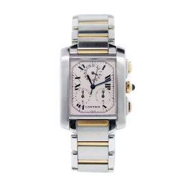 Cartier Tank Chronoflex 2303 Two Tone White Dial 28mm Womens Watch