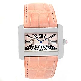 Cartier Tank Divan XL W6301455 Stainless Steel Mother Of Pearl Dial 30mm Womens Watch