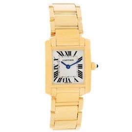 Cartier Tank Francaise W50002N2 18K Yellow Gold Quartz 20mm x 25mm Womens Watch