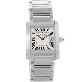 Cartier Tank Francaise W51011Q3 Stainless Steel Quartz Date 25mm Womens Watch