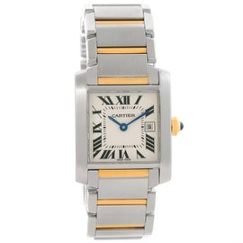 Cartier Tank Francaise W51012Q4 Stainless Steel & 18K Yellow Gold Quartz 25mm Womens Watch