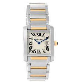Cartier Tank Francaise W51012Q4 Stainless Steel and Yellow Gold 30mm Quartz Women Watch