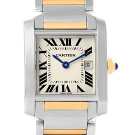 Cartier Tank Francaise W51012Q4 Stainless Steel & 18K Yellow Gold Quartz 25mm Womens Watch