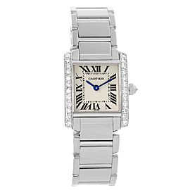 Cartier Tank Francaise WE1002S3 18K White Gold & Diamond 20mm Womens Watch