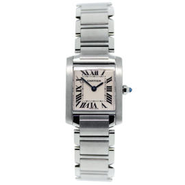 Cartier Tank Francaise W51008Q3 Stainless Steel White Dial 20mm Womens Watch