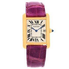 Cartier Tank Louis W1529756 18K Yellow Gold Violet Strap 25mm Unisex Watch