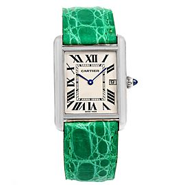 Cartier Tank Louis W1540956 18K White Gold Green Strap 25mm Unisex Watch