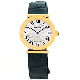 Cartier Vendome BiPlan W1514457 18K Yellow Gold Blue Strap 32mm Mens Watch