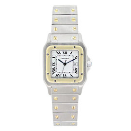 Cartier Santos 1567 Two-Tone Stainless Steel and 18K Yellow Gold White Dial 29mm Womens Watch