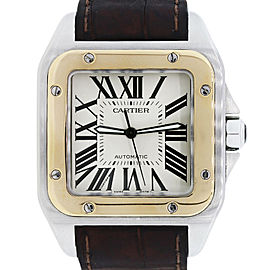 Cartier Santos 100 XL Two-Tone on Brown Alligator Strap 38mm Watch
