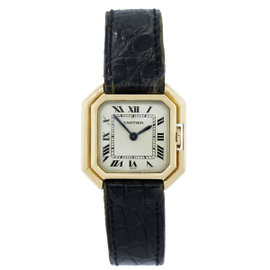 Cartier 18K Yellow Gold on Leather Strap 25mm Womens Watch