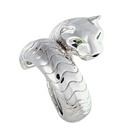 Cartier Panthere 18K White Gold Tsavorite and Onyx Band Ring Size 5