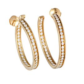 Cartier 18K Yellow Gold & 1.80ctw. Diamond Inside Out Hoop Earrings