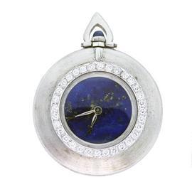 Cartier 18K White Gold Lapis Lazuli Dial 40mm Unisex Pocket Watch