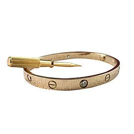 Cartier Love18K Yellow Gold 4 Diamond Bracelet Size 18