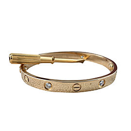 Cartier Love 18K Yellow Gold and 4 Diamond Bracelet Size 16
