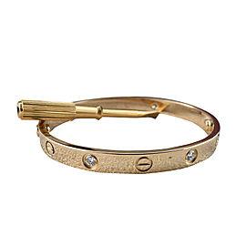 Cartier Love 18K Yellow Gold and 4 Diamond Bracelet Size 16