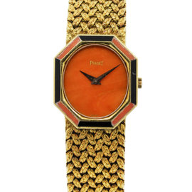 Piaget P341D2 18K Yellow Gold with Coral & Onyx Vintage 26.5mm Womens Watch