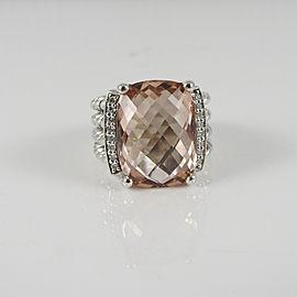 David Yurman Sterling Silver .13tcw 16mm x 12mm Morganite Diamond Wheaton Ring