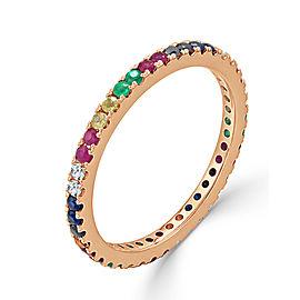 14K Rose Gold Diamond, Ruby & Rainbow Sapphire Band Size 6.5