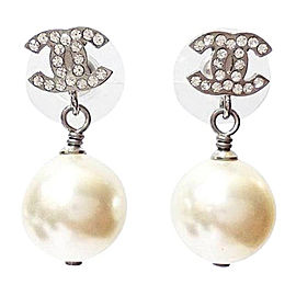 Chanel CC Rhinestone Simulated Glass Pearl Dangle Piercing Earrings