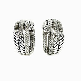 David Yurman Sterling Silver .74tcw Double Loop Diamond Labyrinth Earrings