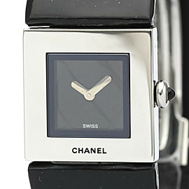 Polished CHANEL Matelasse Steel Leather Quartz Ladies Watch H0116