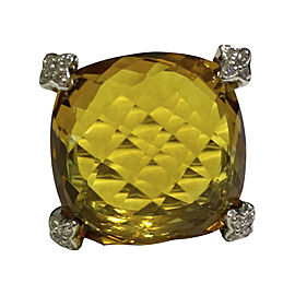 David Yurman Sterling Silver with 0.10ct. Diamond and Citrine Ring Size 6.75