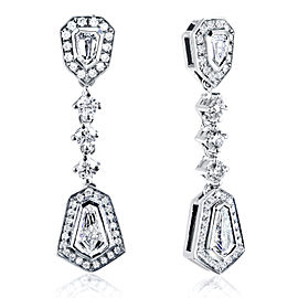 Bullet Cut Diamond Dangle Earrings 1 1/2ct.tw 14k White Gold