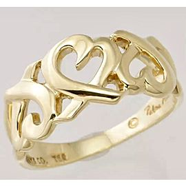 Tiffany & Co. Paloma Picasso Loving Hearts Ring 18K Yellow Gold Size 6