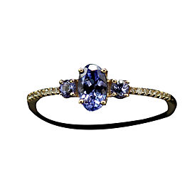 14K Yellow Gold 0.44ctw. Tanzanite 0.08ctw. Diamond Ring Size 7