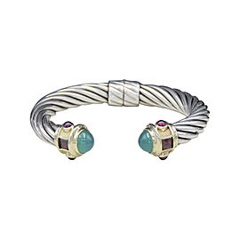 David Yurman Sterling Silver & 14K Yellow Gold Green Onyx & Garnet Renaissance Bracelet