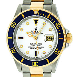 Rolex Submariner 16613 Stainless Steel & 18K Yellow Gold with White Diamond and Sapphire 40mm Mens Watch
