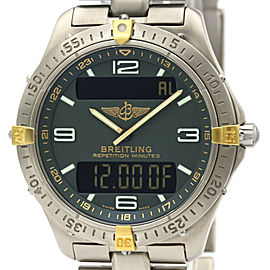 Polished BREITLING 18K Gold Titanium Aerospace watch HK-2008