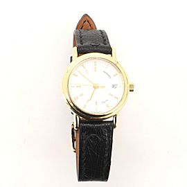 Hermes Roman Numeral Round Quartz Watch Plated Stainless Steel and Leather 26