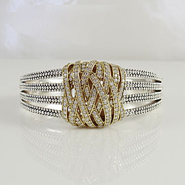 Lagos Sterling Silver 18K Yellow Gold 3.08tcw Diamond Embrace Cuff Bracelet