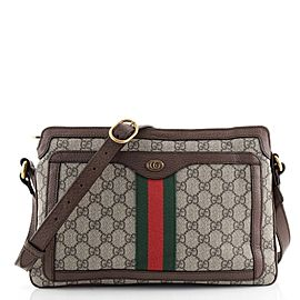 Gucci Ophidia Zip Shoulder Bag GG Coated Canvas Medium