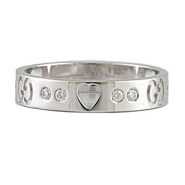 GUCCI 18k white gold Diamond heart Icon Amor Ring CHAT-514