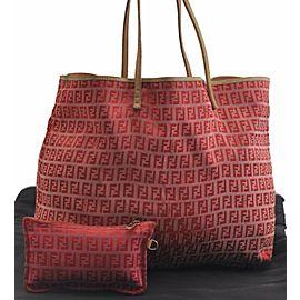 FENDI Canvas Leather Zucchino Tote Bag