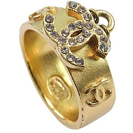 CHANEL Gold Plated/Rhinestone COCO Mark Ring