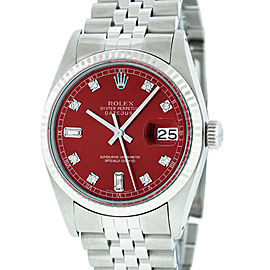 Rolex Datejust 16014 Stainless Steel & 18K White Gold Red Diamond Dial Automatic 36mm Mens Watch
