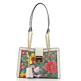 Gucci Padlock Chain Tote Flora GG Coated Canvas Small