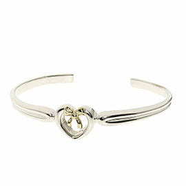 TIFFANY & Co. 18K Yellow Gold Silver Ribbon heart Bracelet