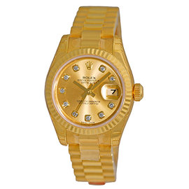 Rolex Datejust 179178 18K Yellow Gold Champagne Diamond Dial Automatic 26mm Womens Watch
